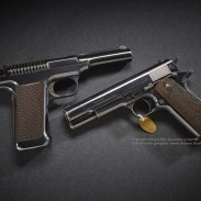 The Savage (left) and Colt (right) pistols used for the final 6,000-round torture test for what would become the 1911 pistol. Image courtesy NRA.