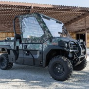 The Kawasaki Mule PRO-FX looks good decked out in Realtree Xtra Green camo. Kawasaki has a hunting accessory package available too that looks sharp and offers a lot of functional features.