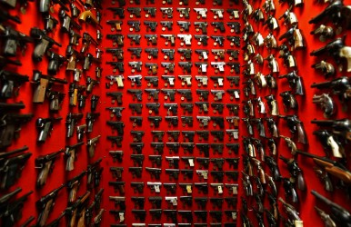 Not exactly a gun room per se, but this wall of pistols would impress any gun collector.