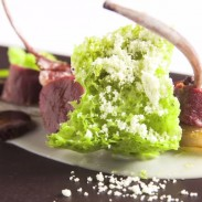 Rack of hare with parsley sponge and dressing.