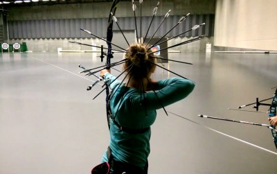 Video Young Archer Finds Another Place to Store Her Arrows