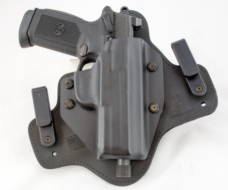 Alien Gear's Cloak Tuck 3.0 IWB holster with a large FNX 45 Tactical pistol.