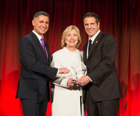 From left to right: Brady Campaign president Dan Gross, Hillary Clinton, and New York Governor Andrew Cuomo.