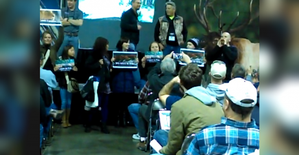 Protesters appeared at a hunting expo in Denver, chanting anti-hunting rhetoric and interrupting a seminar.