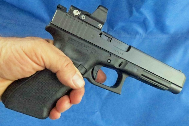 The Glock 40 Gen4  MOS is one of Glock's latest offerings. It's chambered in 10mm and features a modular optic mounting system.
