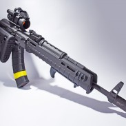 The author's custom Definitive Arms DAKM with a Magpul Zhukov handguard and folding stock and MOE AK grip.