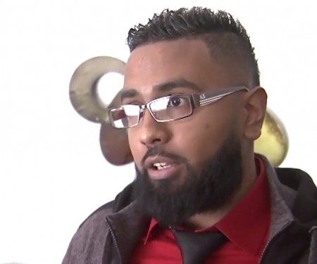 Didarul Sarder said he was fired by his employer, a valet contract company, after he drew a pistol on a woman armed with a knife in the midst of an attack.