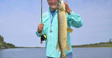 The author's friend Lorne with a medium-sized Manitoba pike.