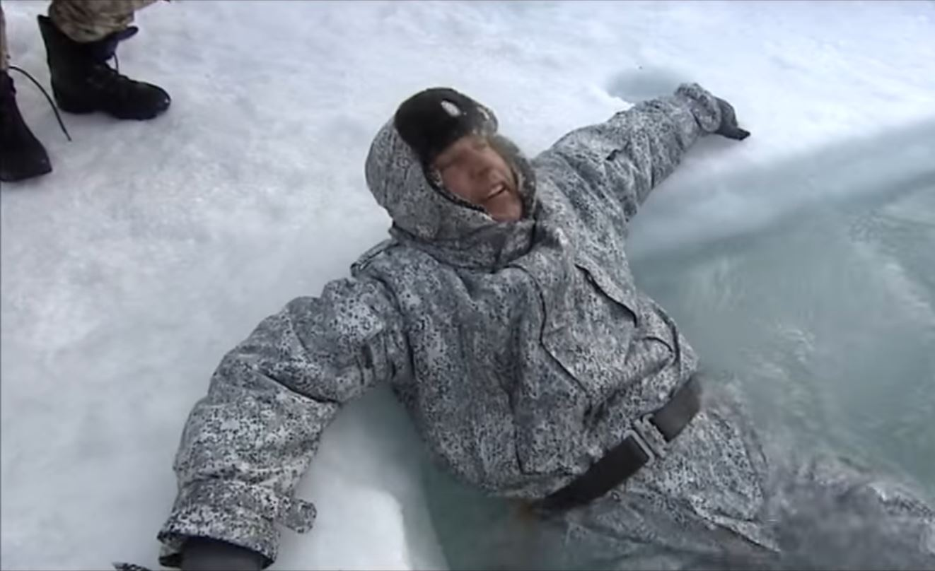 Paratrooper uniforms look like floating ice fishing suits for Ice fishing suits