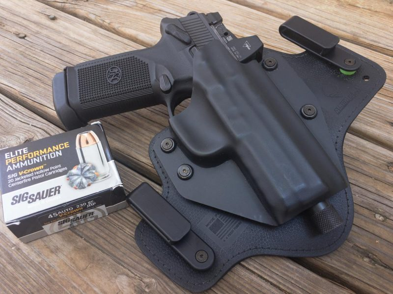 """When I added the Trijicon RMR optic, I """"might"""" have trimmed the holster shell a little. Don't tell the Alien Gear folks, OK?"""