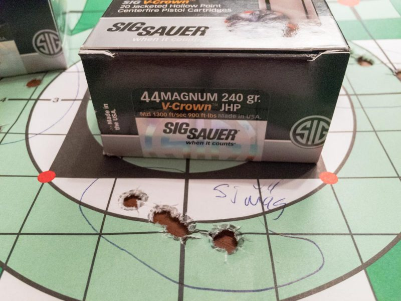 Even with my fading eyesight and iron sights, it was easy to shoot well. This Sig Sauer V-Crown .44 Magnum grouped into about an inch and a half here.