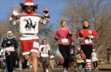 The course typically goes through city streets and parks.  Image courtesy of The Ugly Sweater Run.