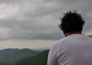 One of Wolfe's hiking companions, Josh Cannon, sitting on an outlook on Blood Mountain.