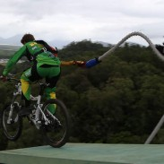 Chris Barlin bungee jumped  on his bike in preparation for the Australian leg of the MTB World Cup.