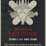Snowboard block festival poster