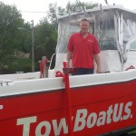 Capt. John Urbano aboard his towboat.