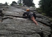 Climbing The Watermark slab in Boulder Canyon.
