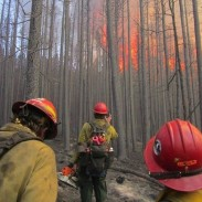 A fire at Russel's Camp, Wyoming in 2012.