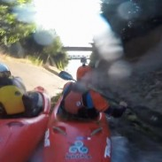 Marr attempts to pass Sturges as they fly down a drainage ditch in British Columbia.