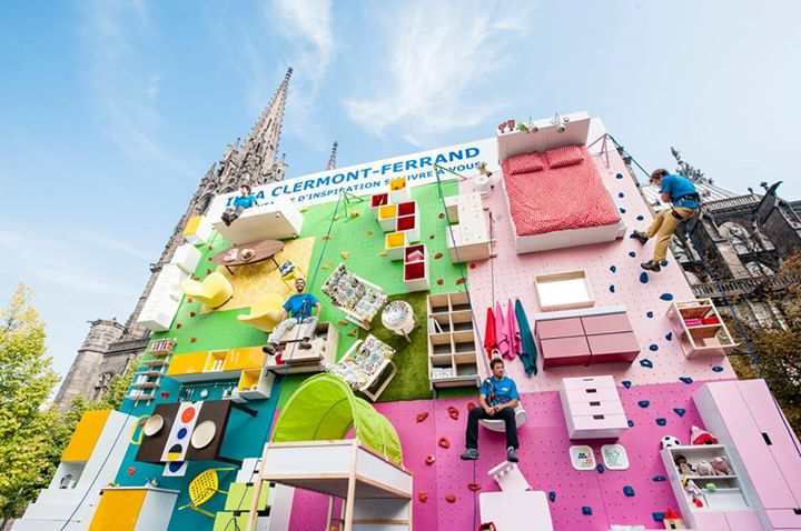ikea builds climbing wall made of furniture in france actionhub. Black Bedroom Furniture Sets. Home Design Ideas