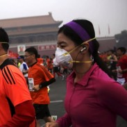 Masked runners braved the dangerous smog that hung over last weekend's marathon.