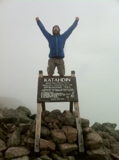 Zach Davis, after reaching Mount Katahdin in Maine.