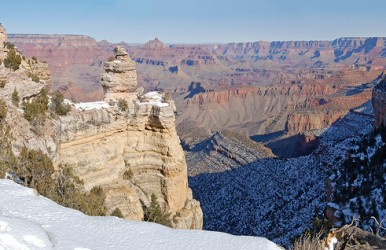 Winter snow sits on the south rim at Grand Canyon National Park. Image courtesy of Grand Canyon National Park.