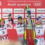 Ted Ligety, center, won giant slalom gold at the Alpine World Championships. Images courtesy USSA.