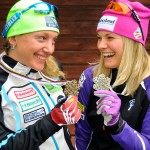 Jessie Diggins (right) and Caitlin Gregg display their medals from the Nordic World Ski Championships. Image courtesy of U.S. Ski Team/Tom Kelly.