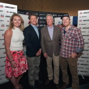 The U.S. Ski Team announces its new relationship with NASTAR at the National Ski Areas Association Convention and Trade Show in San Francisco. Mikaela Shiffrin, Tiger Shaw, Andy Clurman and Ted Ligety. Image courtesy of US Ski Team.