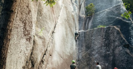 The author takes on a crack climb in the Smoke Bluffs, in Squamish.