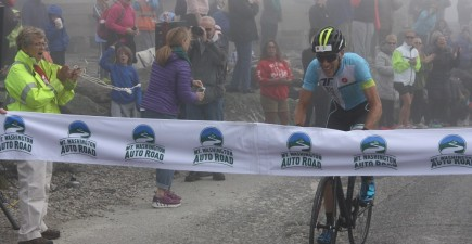 Eneas Freyre crosses the finish line in the 43rd Mt. Washington Auto Road Bicycle Hillclimb. Image by Marty Basch.