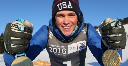 Men's Alpine Combined Slalom and Men's Super-G Gold Medal winner River Radamus USA with both Gold Medal's during the Winter Youth Olympic Games, Lillehammer Norway, 14 February 2016. Photo: Arnt Folvik for YIS/IOC  Handout image supplied by YIS/IOC